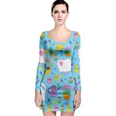 Cute Easter pattern Long Sleeve Bodycon Dress