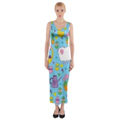 Cute Easter pattern Fitted Maxi Dress
