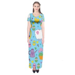 Cute Easter pattern Short Sleeve Maxi Dress