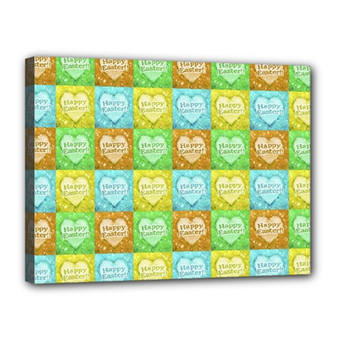 Colorful Happy Easter Theme Pattern Canvas 16  x 12