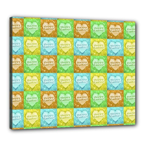 Colorful Happy Easter Theme Pattern Canvas 24  x 20