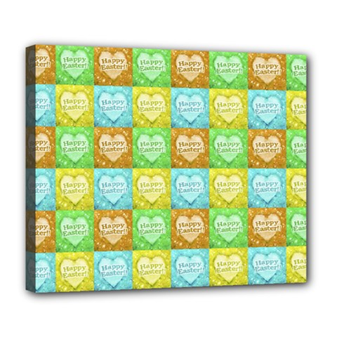 Colorful Happy Easter Theme Pattern Deluxe Canvas 24  x 20