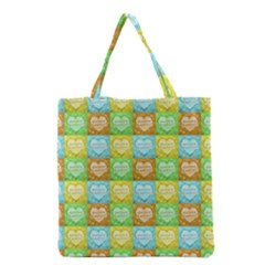 Colorful Happy Easter Theme Pattern Grocery Tote Bag