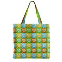 Colorful Happy Easter Theme Pattern Zipper Grocery Tote Bag