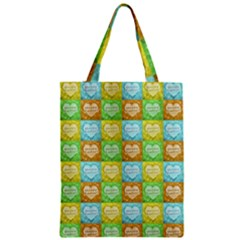 Colorful Happy Easter Theme Pattern Zipper Classic Tote Bag