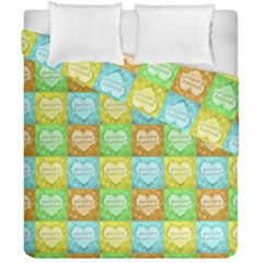 Colorful Happy Easter Theme Pattern Duvet Cover Double Side (California King Size)