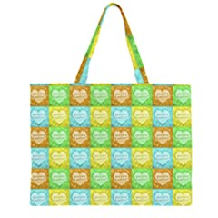Colorful Happy Easter Theme Pattern Large Tote Bag