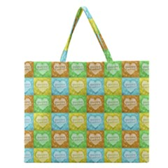 Colorful Happy Easter Theme Pattern Zipper Large Tote Bag