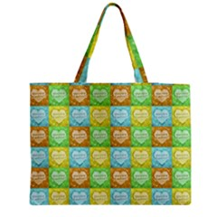 Colorful Happy Easter Theme Pattern Medium Zipper Tote Bag