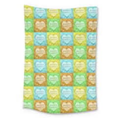 Colorful Happy Easter Theme Pattern Large Tapestry