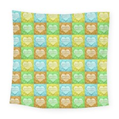 Colorful Happy Easter Theme Pattern Square Tapestry (large)