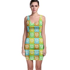 Colorful Happy Easter Theme Pattern Sleeveless Bodycon Dress