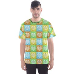 Colorful Happy Easter Theme Pattern Men s Sport Mesh Tee