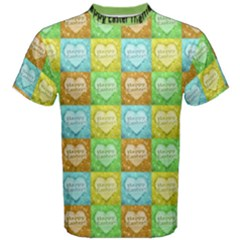 Colorful Happy Easter Theme Pattern Men s Cotton Tee