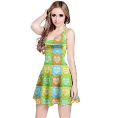 Colorful Happy Easter Theme Pattern Reversible Sleeveless Dress