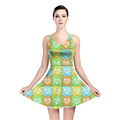 Colorful Happy Easter Theme Pattern Reversible Skater Dress