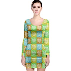 Colorful Happy Easter Theme Pattern Long Sleeve Bodycon Dress