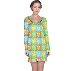Colorful Happy Easter Theme Pattern Long Sleeve Nightdress