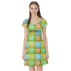 Colorful Happy Easter Theme Pattern Short Sleeve Skater Dress