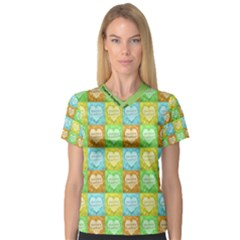 Colorful Happy Easter Theme Pattern Women s V-Neck Sport Mesh Tee