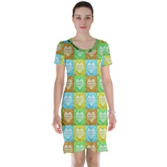 Colorful Happy Easter Theme Pattern Short Sleeve Nightdress