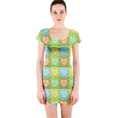 Colorful Happy Easter Theme Pattern Short Sleeve Bodycon Dress