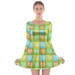 Colorful Happy Easter Theme Pattern Long Sleeve Skater Dress