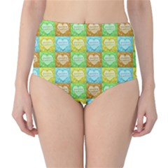 Colorful Happy Easter Theme Pattern High-Waist Bikini Bottoms