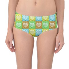 Colorful Happy Easter Theme Pattern Mid-Waist Bikini Bottoms