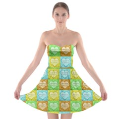 Colorful Happy Easter Theme Pattern Strapless Bra Top Dress