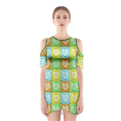 Colorful Happy Easter Theme Pattern Shoulder Cutout One Piece