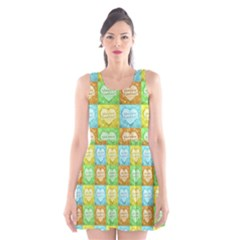 Colorful Happy Easter Theme Pattern Scoop Neck Skater Dress