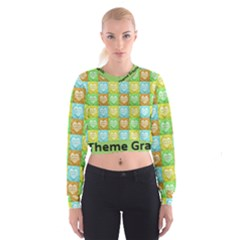Colorful Happy Easter Theme Pattern Cropped Sweatshirt