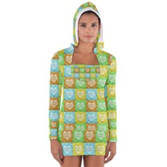 Colorful Happy Easter Theme Pattern Women s Long Sleeve Hooded T-shirt