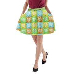 Colorful Happy Easter Theme Pattern A-Line Pocket Skirt