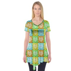 Colorful Happy Easter Theme Pattern Short Sleeve Tunic
