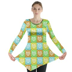 Colorful Happy Easter Theme Pattern Long Sleeve Tunic