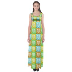 Colorful Happy Easter Theme Pattern Empire Waist Maxi Dress
