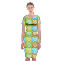 Colorful Happy Easter Theme Pattern Classic Short Sleeve Midi Dress