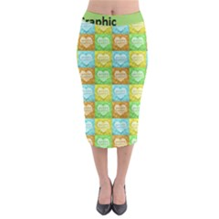 Colorful Happy Easter Theme Pattern Midi Pencil Skirt