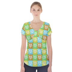 Colorful Happy Easter Theme Pattern Short Sleeve Front Detail Top