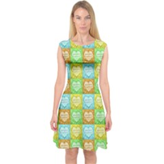 Colorful Happy Easter Theme Pattern Capsleeve Midi Dress