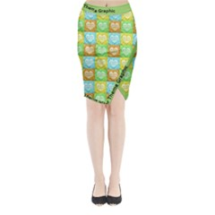Colorful Happy Easter Theme Pattern Midi Wrap Pencil Skirt
