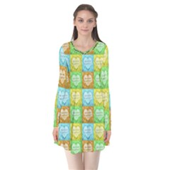 Colorful Happy Easter Theme Pattern Flare Dress