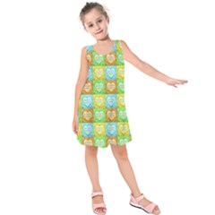 Colorful Happy Easter Theme Pattern Kids  Sleeveless Dress