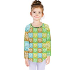 Colorful Happy Easter Theme Pattern Kids  Long Sleeve Tee