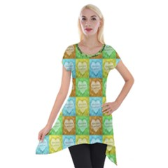 Colorful Happy Easter Theme Pattern Short Sleeve Side Drop Tunic