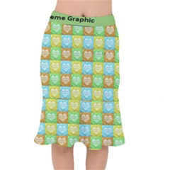 Colorful Happy Easter Theme Pattern Mermaid Skirt