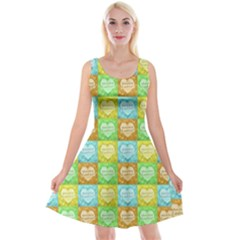 Colorful Happy Easter Theme Pattern Reversible Velvet Sleeveless Dress