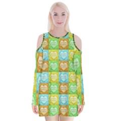 Colorful Happy Easter Theme Pattern Velvet Long Sleeve Shoulder Cutout Dress